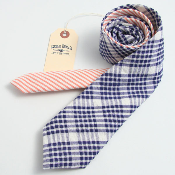 1960 Check & Coral seersucker Stropdas, General Knot & Co