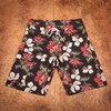1961 Surf Short Hawaii Flowers Faded Black Pike Brothers