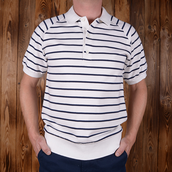 1954 Polo Shirt navy striped Pike Brothers