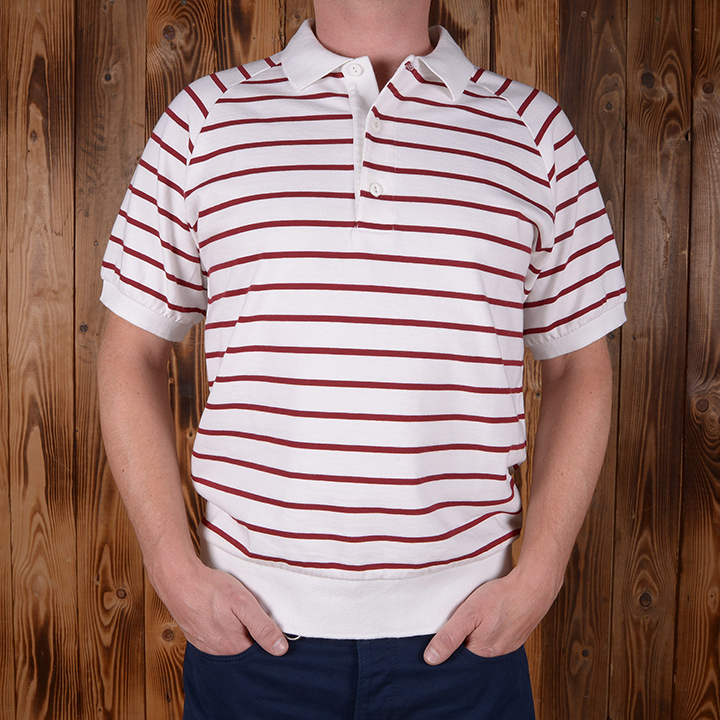 1954 Polo Shirt red striped Pike Brothers