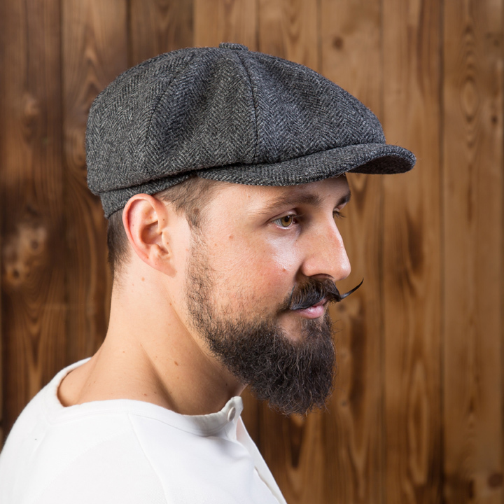 1928 Newsboy Cap herringbone grey Pike Brothers