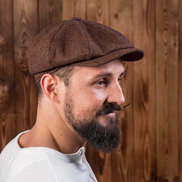1928 Newsboy Cap herringbone brown Pike Brothers