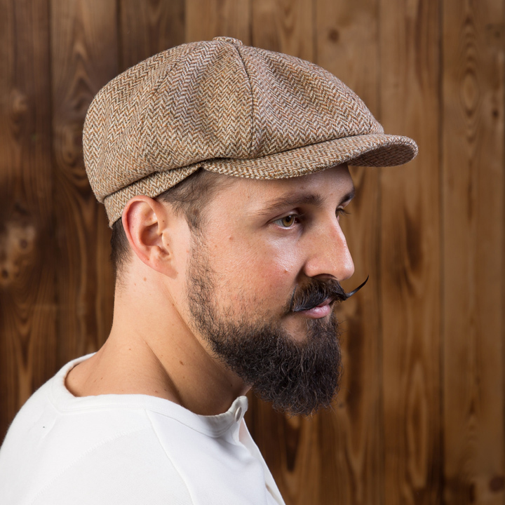 1928 Newsboy Cap herringbone light brown Pike Brothers
