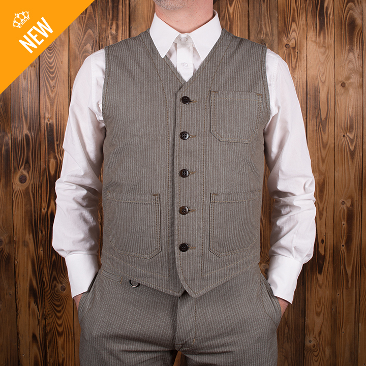 1937 Roamer Vest herringbone twill brown Pike Brothers