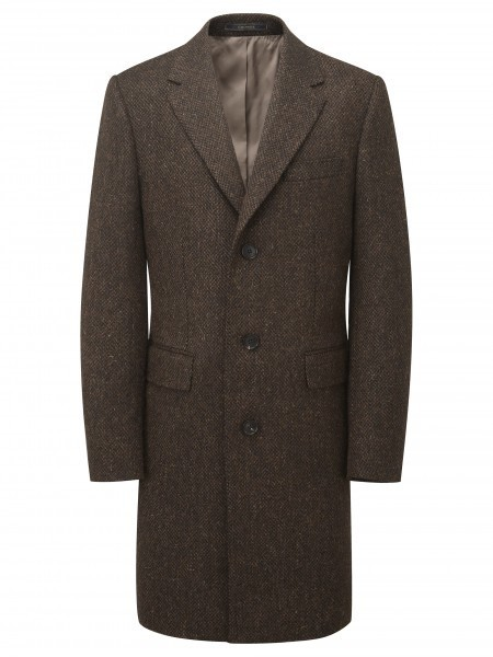 Pure wool brown patterned tweed coat, Crombie