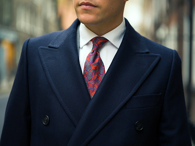 Pure wool navy herringbone King Coat, Crombie
