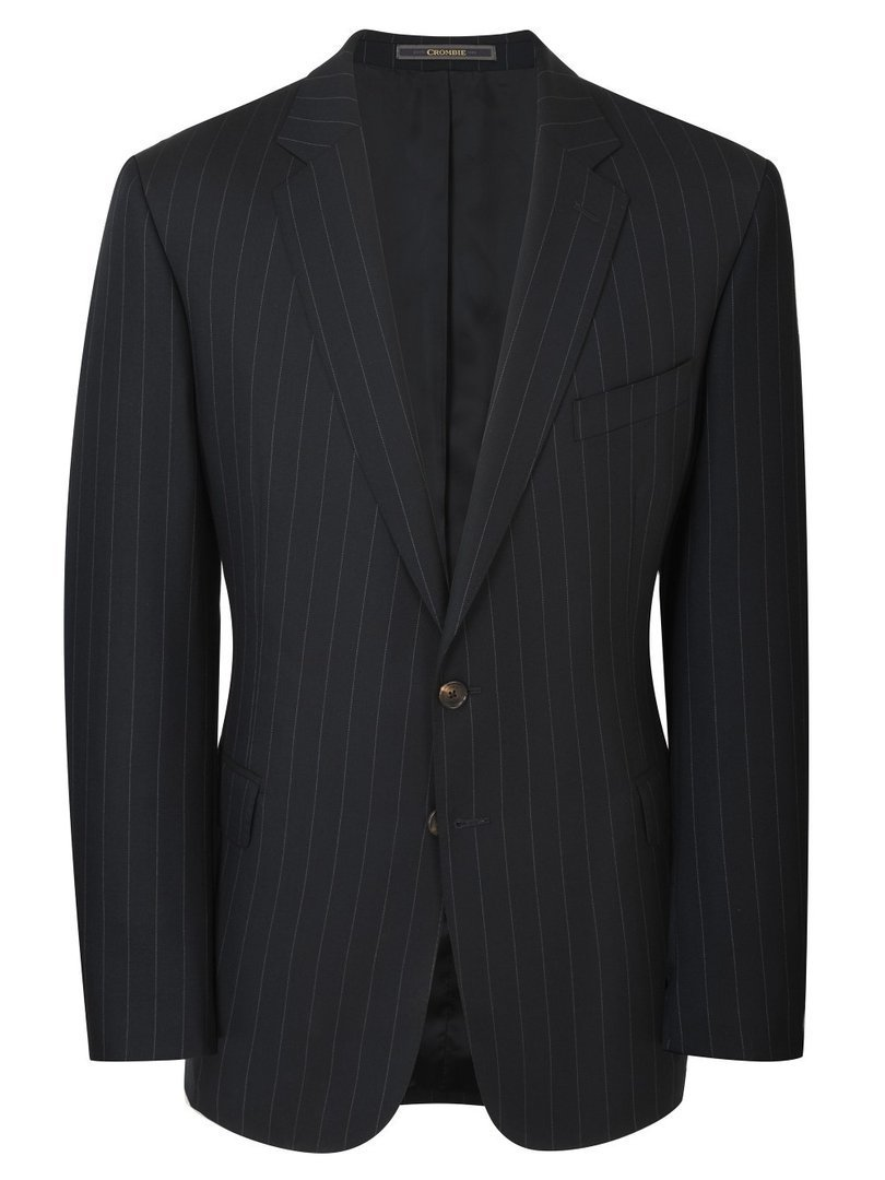 Pure wool & full canvas navy wide stripe suit, krijtstreep Crombie