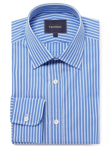 Blue and white stripe classic collar single cuff shirt, Crombie