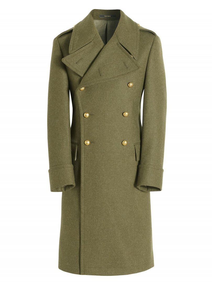 Pure wool army green greatcoat, Crombie