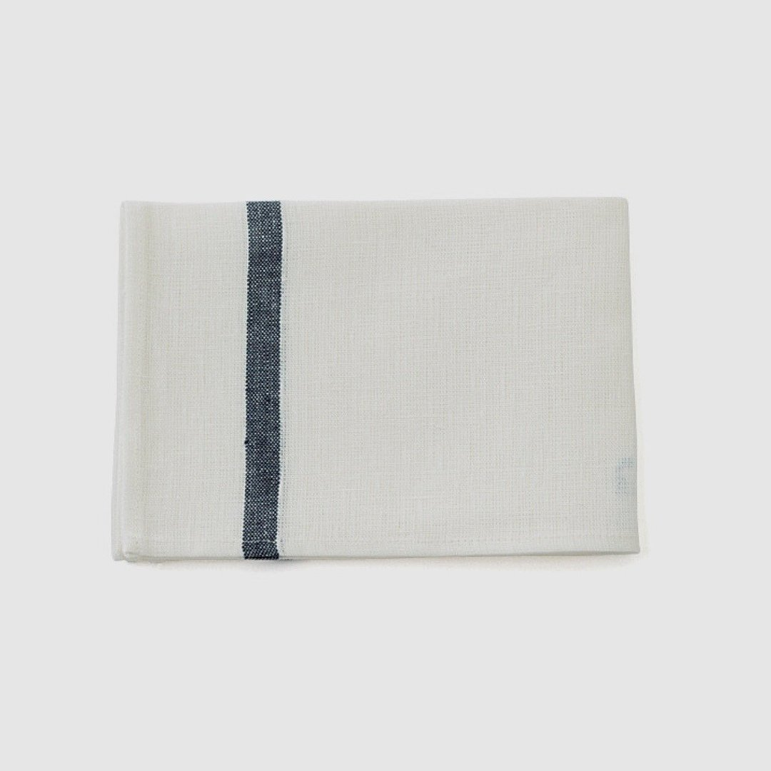 Thick Linen Kitchen Cloth: White with Navy Stripe thick linen kitchen cloth: white with navy stripe