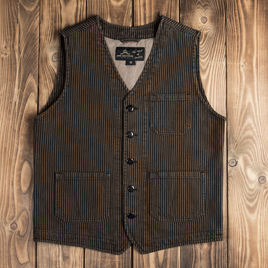 1937 Roamer Vest hickory stripe brown, Pike Brothers