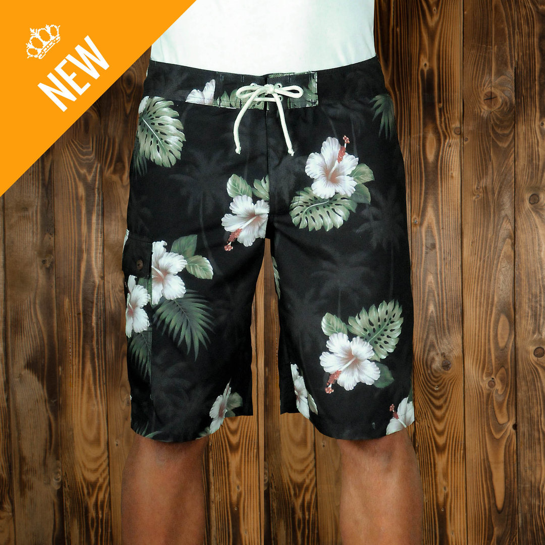 1961 Surf Short Puuhuna black, zwembroek, Pike Brothers