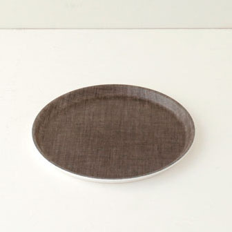 linen coating tray round natural - fog linen