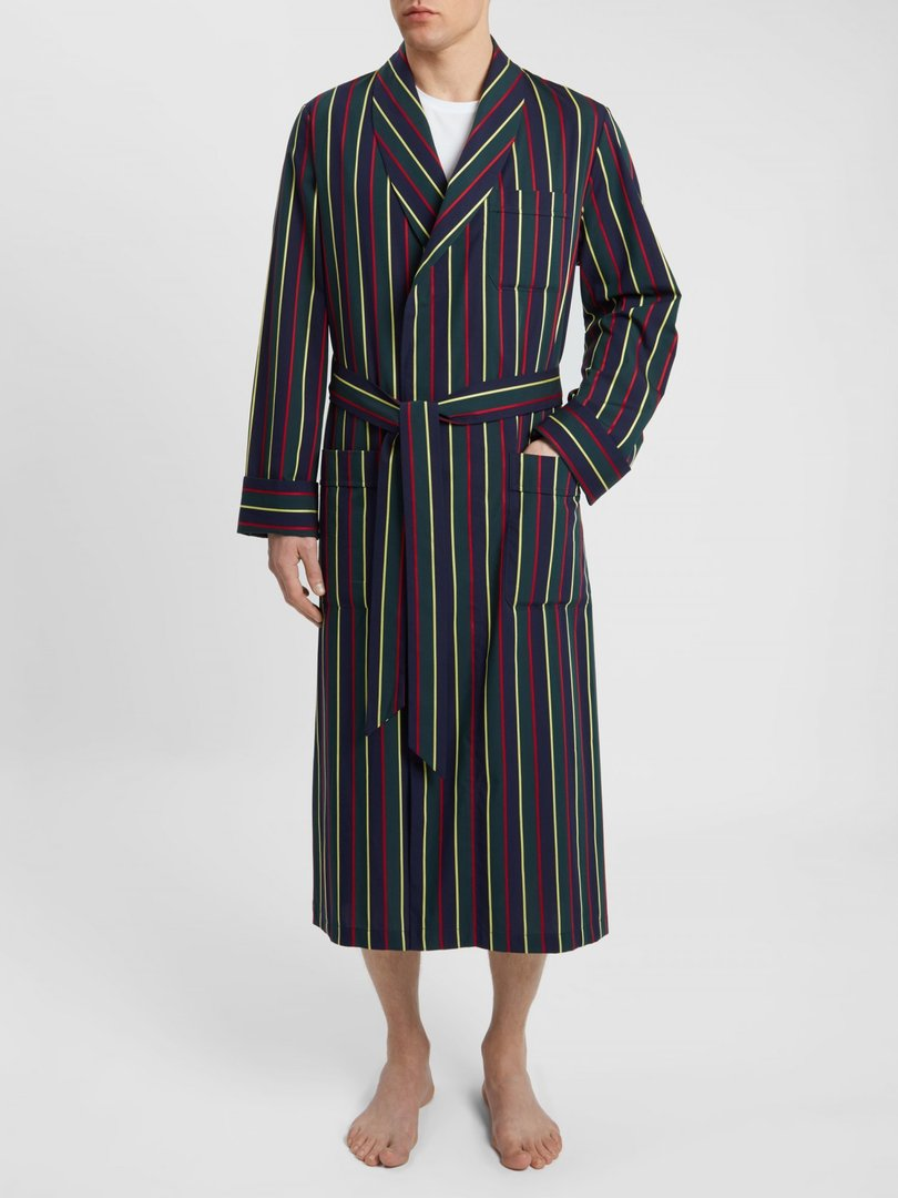 Men's Classic Dressing Gown Cotton Satin Stripe Regimental Ash, Derek Rose