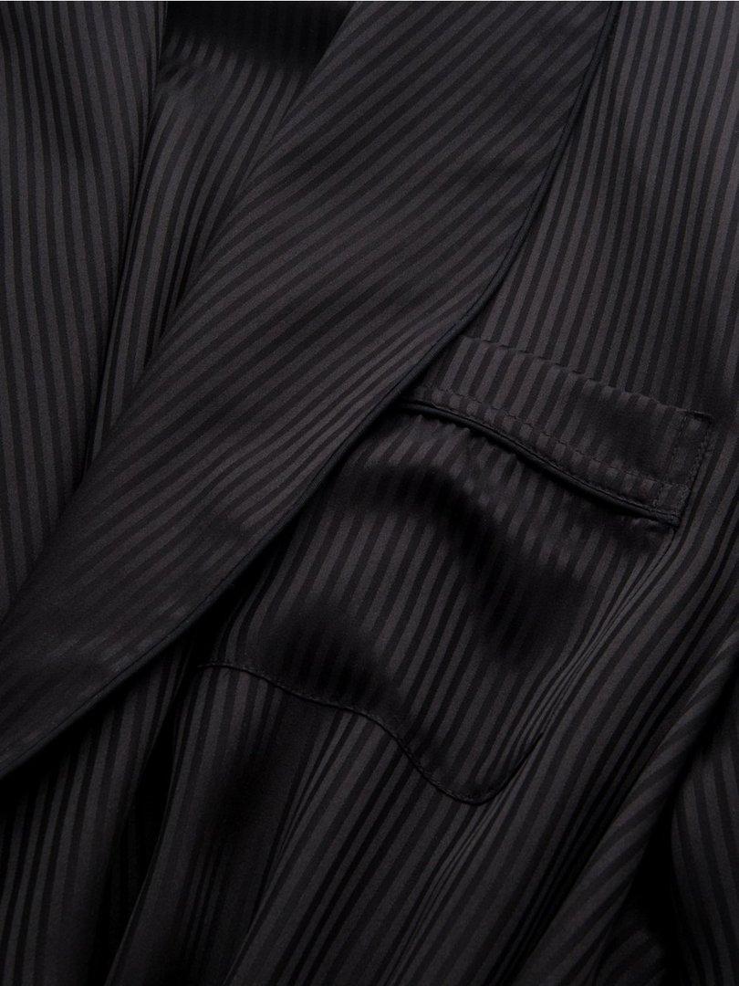... Men s Piped Dressing Gown Woburn 8 Pure Silk Satin Stripe Black Derek  ... 04b11cba3