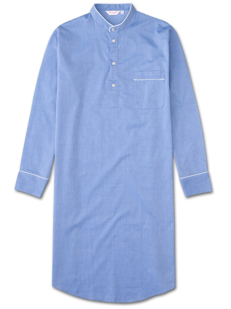 Men's Pullover Nightshirt Amalfi Cotton Batiste Blue, Derek Rose / laatste maten