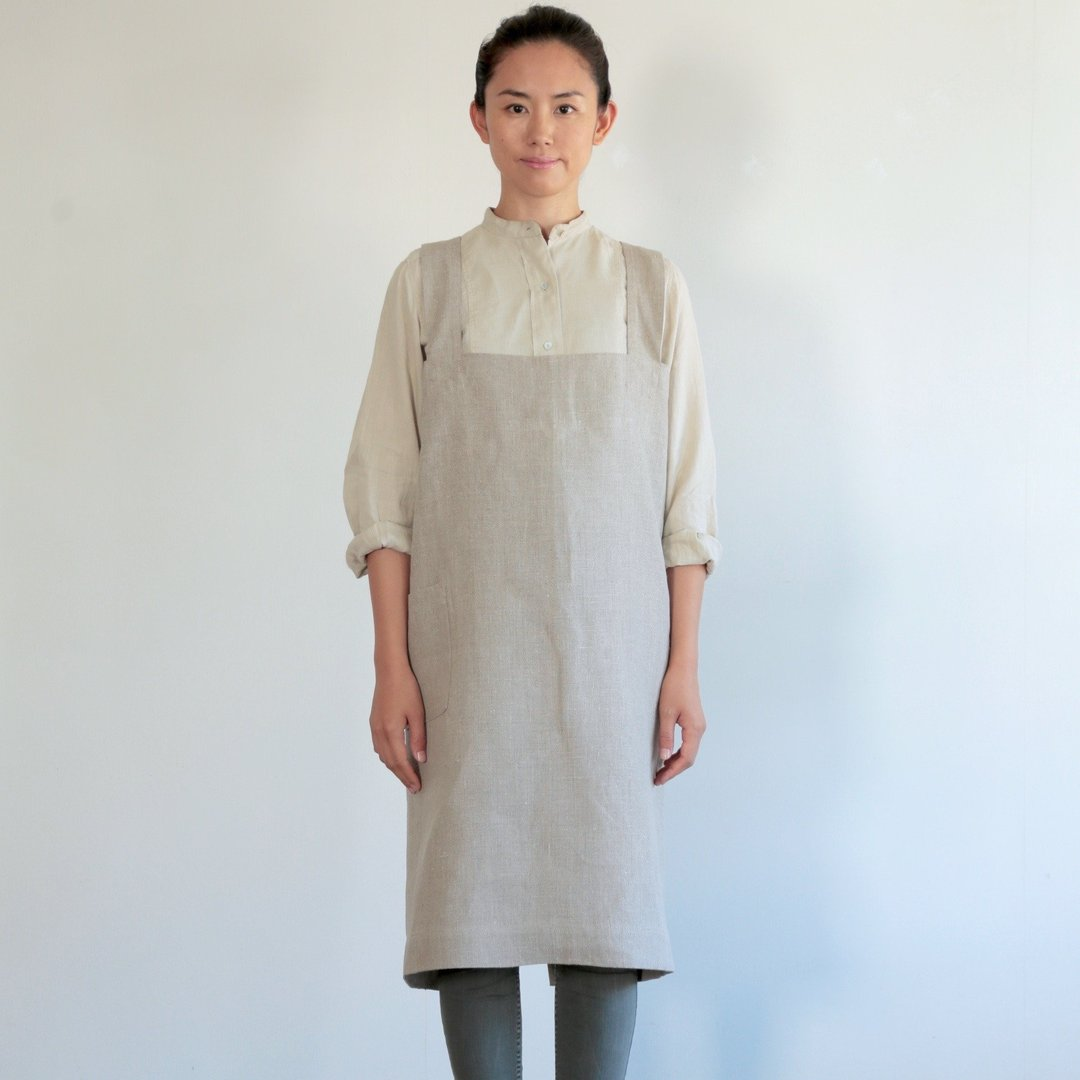 linen square cross apron naturel, fog linen