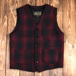 1937 Roamer Vest red check wool, Pike Brothers