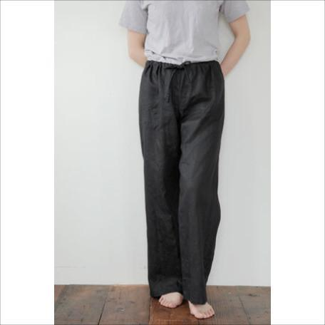 oise draw-string pants: black - fog linen