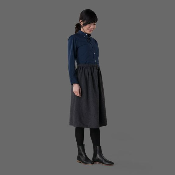 dafne gather skirt black chambray - fog linen