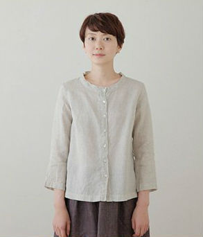 fanny stand collar shirts nacre - fog linen