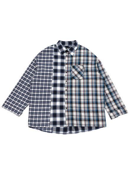 Over Check Mixed Shirt Blue, AJOBYAJO