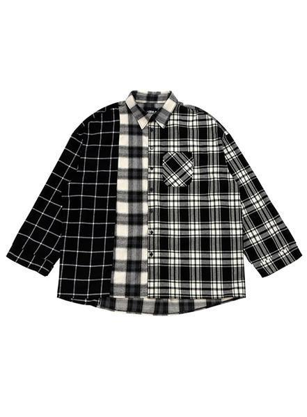 Over Check Mixed Shirt Black
